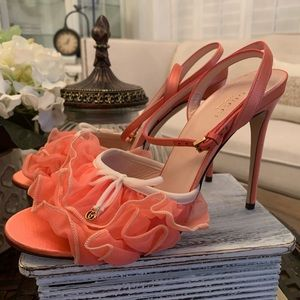 GUCCI High Heel Tulle Sandal Size 39
